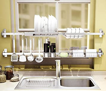 FAFZ Sink Drainage Rack, 304 Stainless Steel Shelf, Kitchen Supplies, Folding Bowl Rack ( Color : 4# , Size : 100cm )