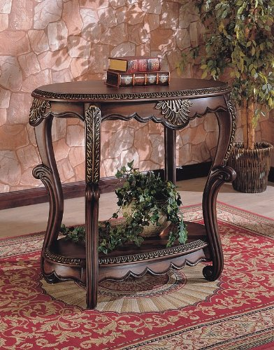 Cheap Elegant Warm Brown Finish EntryWay Accent Console Table (VF_700014)