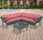 Outsunny 6pc Stackable Outdoor Rattan...