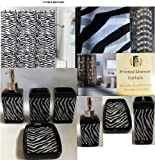 17 Piece Bath Accessory Set- Black Zebra Shower Curtain with Decorative Rings + Bathroom Accessories Set