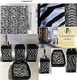 17 Piece Bath Accessory Set- Black Zebra Shower Curtain with Decorative Rings + Bathroom Accessories Set