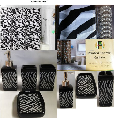 Zebra Bathroom Ideas : 17 piece bath accessory set black zebra shower curtain with decorative