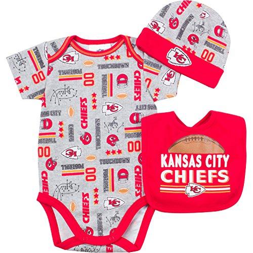 NFL Kansas City Chiefs Bodysuit, Bib & Cap Set (3 Piece), 3-6 Months, Gray at SteelerMania
