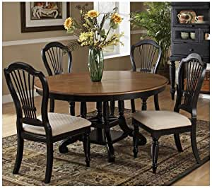 5 Pc Dining Set Table Upholstered Chairs Rubbed Black Finish