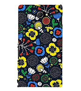 Floral Wallpaper 3D Hard Polycarbonate Designer Back Case Cover for Sony Xperia M2 Dual D2302 :: Sony Xperia M2