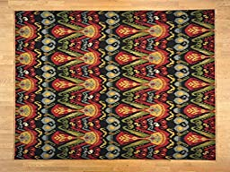 9x12 Colorful Reversible Flat Weave Ikat Soumak Hand Woven Oriental Rug G19164