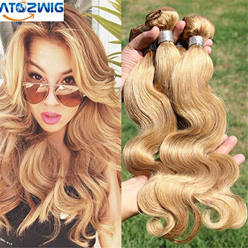 ATOZHair 3 Bundles Body Wave Brazilian Ombre Human Hair Wavy #27 COlor 100% Ombre Hair Extensions Grade 7A 3 bundles 150g (Red Wet And Wavy Hair compare prices)