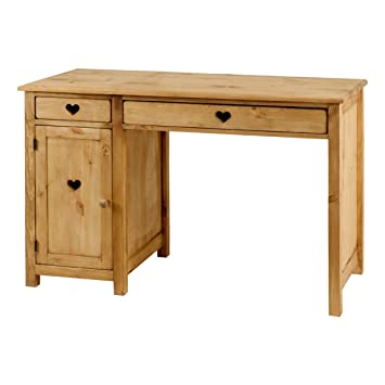 Bureau pin massif avec coeur 2 tiroirs + 1 porte Terroir-Bureau pin massif avec coeur 2 tiroirs + 1 porte Terroir
