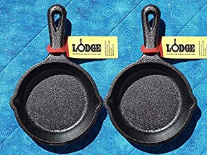 2 Lodge LMS3 3.5 inch Cast Iron Mini Skillet / Spoon Rest / Ashtray Pre-Seasoned