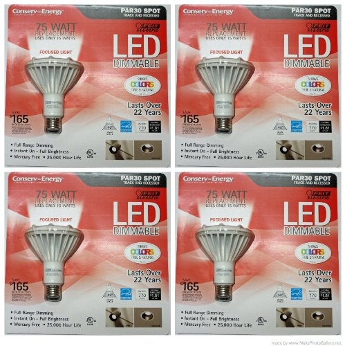 Feit Electric Conserv-Energy Dimmable Par30 Led 15 Watts Light Bulb - 75 Watt Equivalent Replacement- (4 Pack)