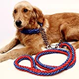 Dog Leash/dog Chain/traction Rope Adjustable Loop Slip Pet Dog Leashes Rope Snap Training Lead (L, Red+blue)