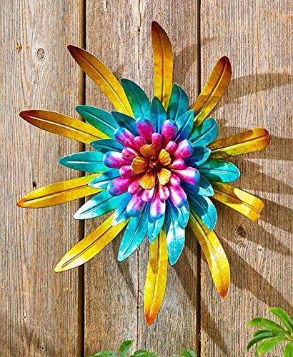 Metal Outdoor Wall Art Metallic Garden Flowers (Gold)