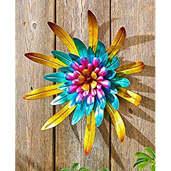 Metal Outdoor Wall Art Metallic Garden Flowers (Gold)