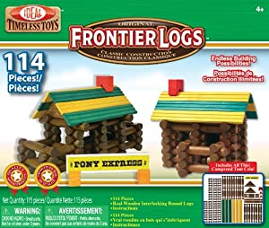 POOF-Slinky - Ideal Frontier Logs Classic All Wood Construction Set, 114-Pieces, 114LBL