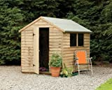 8' x 6' Wooden Garden Shed Single Door Apex Roof Low Maintenance Overlap Wood 15 Year Anti-Rot Guarantee