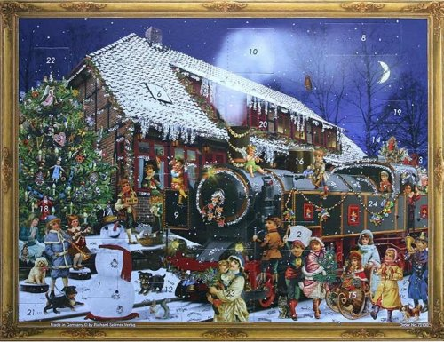 Victorian THE Christmas Train German Advent Calendar (approx 10.5 x 14-inches) (70100)