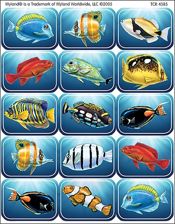 Wy Colorful Fish Stickers -- Case of 14
