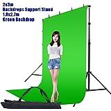 Hakutatz 6x9FT/1.8x2.7M Photo Studio Green Chromakey Muslin Backdrop  Clamp, Carrying Bag  6.7x10FT/2x3M Adjustable Video Studio Background Support