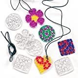 Crystal Mosaic Pendant Necklaces With Black Cord 4 Assorted Designs For Children To Color(Pack Of 12