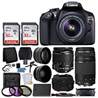 Canon EOS Rebel T6 Digital SLR Camera + Canon 18-55mm EF-S Lens & EF 75-300mm Lens + SanDisk 64GB Card + Telephoto & Wide Angle Lens + Extra Battery + 58mm UV Filters + Gadget Bag + Full Valued Bundle