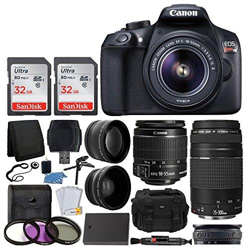 Canon-EOS-Rebel-T6-Digital-SLR-Camera-Canon-18-55mm-EF-S-Lens-EF-75-300mm-Lens-SanDisk-64GB-Card-Telephoto-Wide-Angle-Lens-Extra-Battery-58mm-UV-Filters-Gadget-Bag-Full-Valued-Bundle
