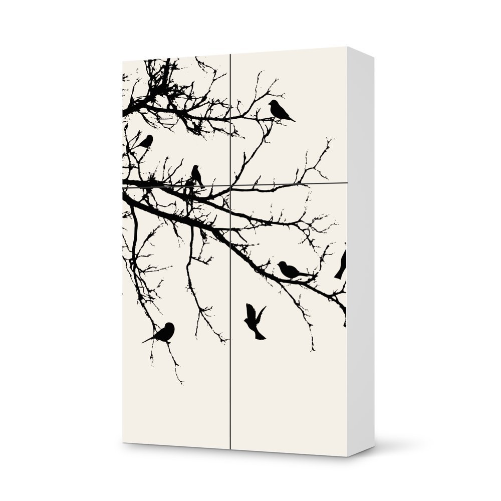 Folie IKEA Besta Schrank Hochkant 4 Türen (2+2) / Design Aufkleber Tree and Birds 1 / Dekorationselement günstig
