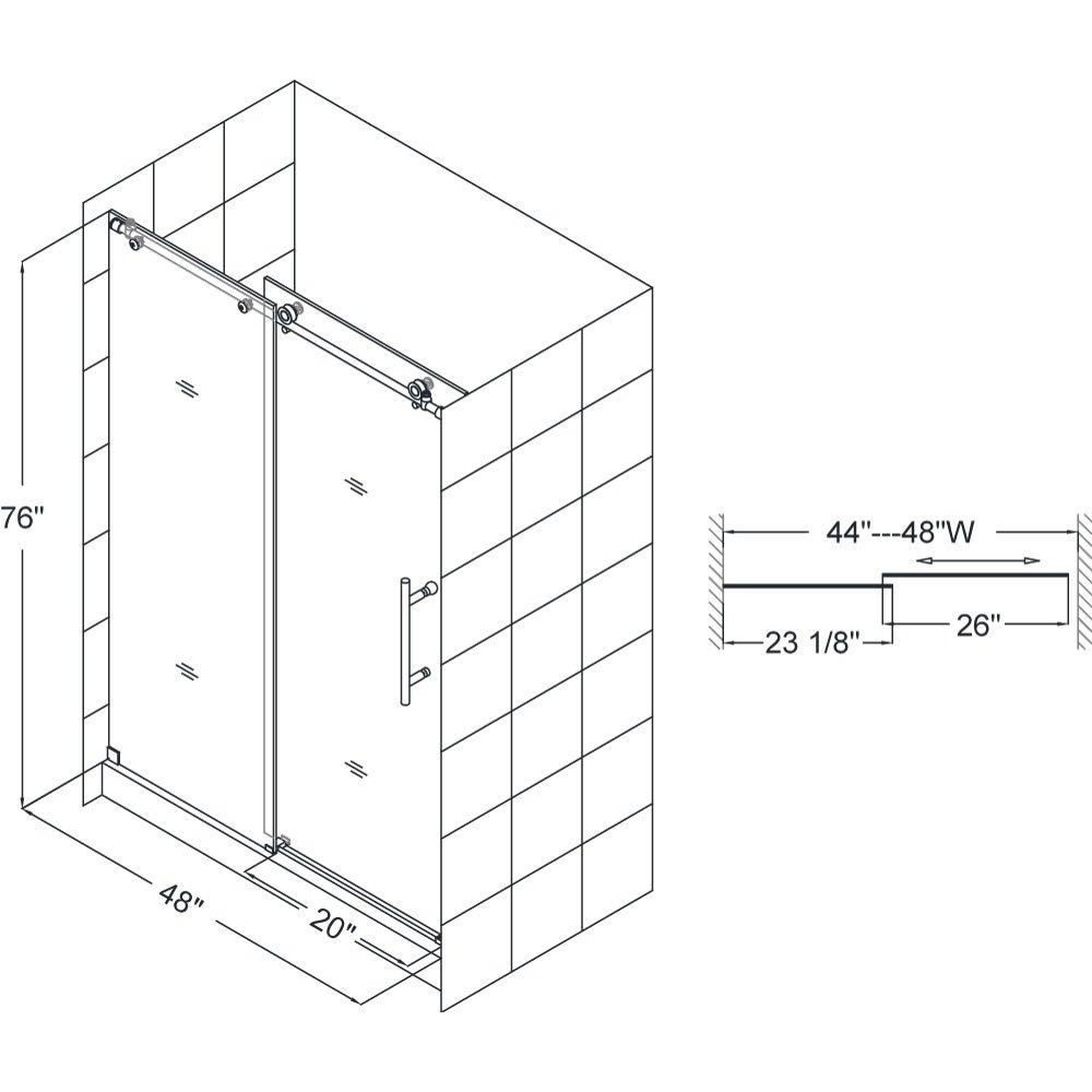 """DreamLine Enigma-X 44-48 in. Width, Frameless Sliding Shower Door, 3/8"""" Glass, Brushed Stainless Steel Finish"""