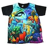 ストリート系 メンズTシャツ 熱帯魚 ニモ 水族館 プリントTシャツ 半袖 (L) [並行輸入品]