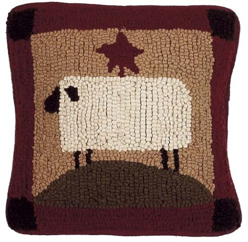 Decorative Primitive Pillows : Pillow Hooked Wool Sheep Country Rustic Primitive : Decorative Pillows