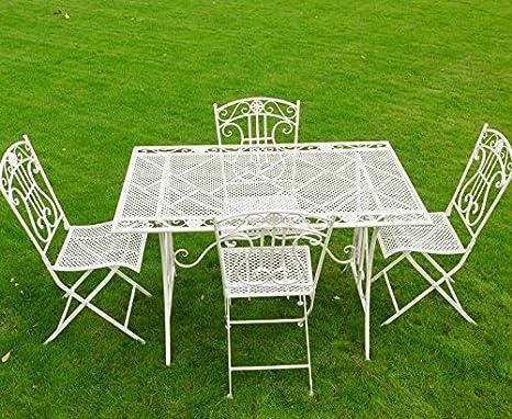 Sarah white finish ornate iron bistro set - table + 4 chairs