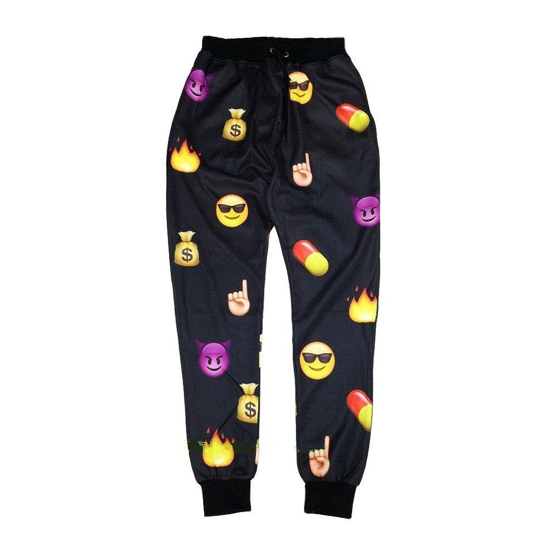 Women Men Jogging Pants Cartoon 3D Black Emoji Running Sport Sweatpants (S) sokotoo men s colored painted snake 3d print jeans fashion black slim stretch denim pants