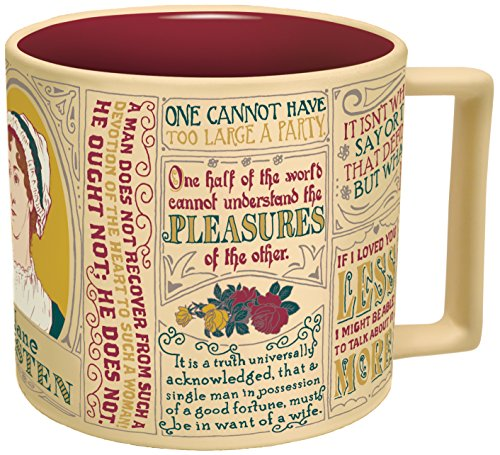 Jane Austen Coffee Mug – Austen's Most Famous Quotes and Depictions – Comes in a Fun Gift Box – by The Unemployed Philosophers Guild