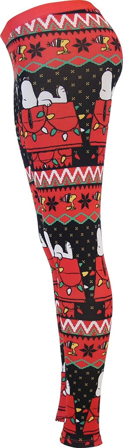 Amazon.com: Snoopy House Ugly Christmas Pattern Red Leggings ...