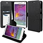 Note 4 Case, Abacus24-7 Note 4 Wallet Case [Book Fold] Leather Galaxy Note 4 Cover [Flip Cover] with Foldable Stand, Pockets for ID, Credit Cards - Black Flip Case for Samsung Note 4