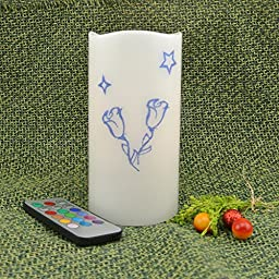 AdoriaTM 6 Inch Blue glitter Romantic Cute Roses LED Battery Operated Flameless Candle,12 Color Changing with Remote Control Ready