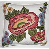 Crewel Pillow Pinnata Red On White Cotton Duck (18X18)