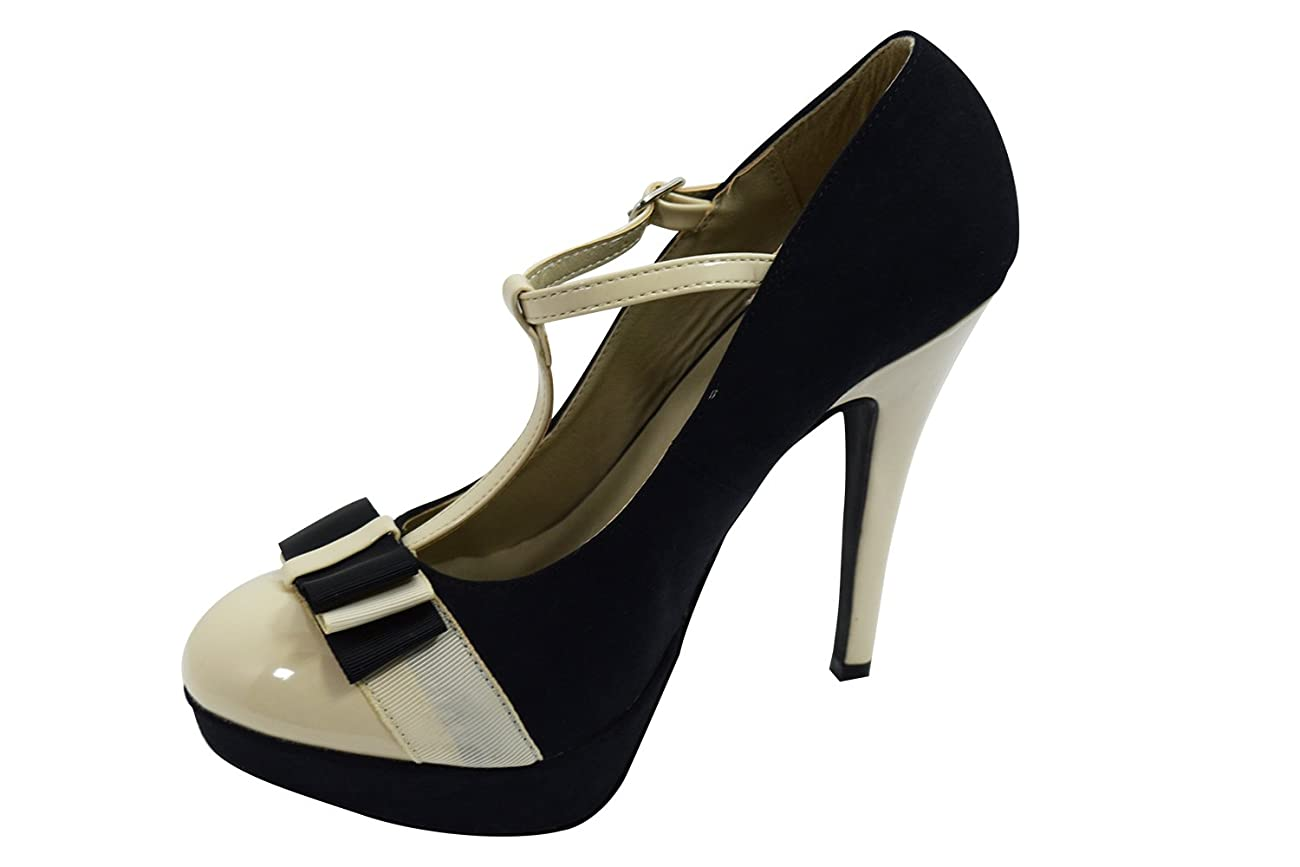 Vintage Inspired Retro Pin-up Black & Cream Two Tone Bow Accent T-strap Mary Jane Platform Stiletto Pumps 2