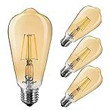 Dimmable Led Bulb,LED Vintage Bulbs, LED Edison Light Bulbs, Amber 4W Vintage LED Filament Light Bulb, ST64-4W Light Bulbs,2400K- 2700K Warm White,E26 Base Lamp for Restaurant,Home,Room,Office,4 Pack (Color: Warm White)