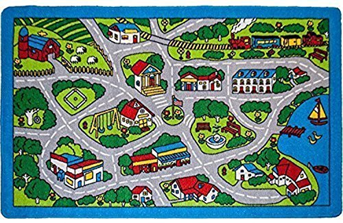 Kids Rug Street Map in Grey 3' X 5' Children Area Rug for Playroom & Nursery - Non Skid Gel Backing (39