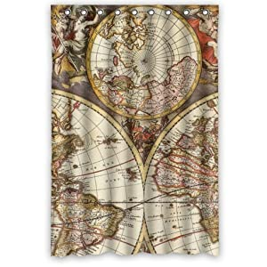 Unique and traditional design old world map waterproof polyester fabric bathroom - Old world map shower curtain ...