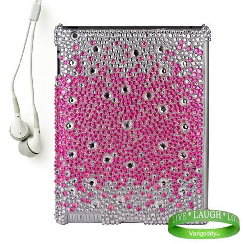 Bedazzled Diamond Pink Cover Hard Case for all models of The New Apple iPad ( 3rd Generation, iPad3, wifi , + AT&#038;T 3G , 16 GB , 32GB , MC707LL/A , MD328LL/A , MC705LL/A , MC706LL/A, MD329LL/A , MD368LL/A , ect.. ) + iPad Compatible White Earbud Earphones + Live Laugh Love Vangoddy Wrist Band!!!