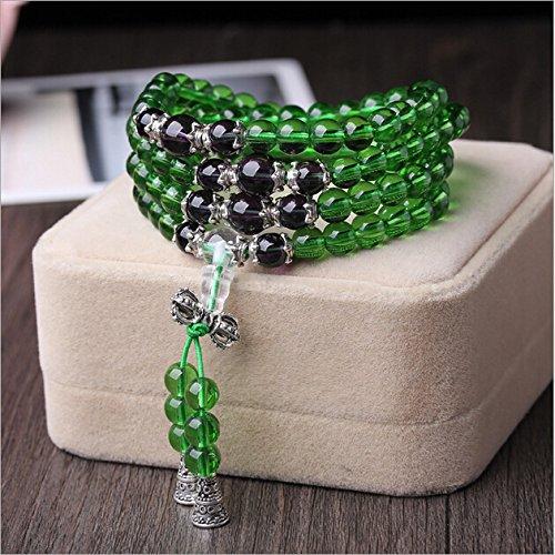 XJoel Bracciale 108 grani di guarigione della pietra preziosa la meditazione Mala collana Malas di preghiera borda il braccialetto verde viola