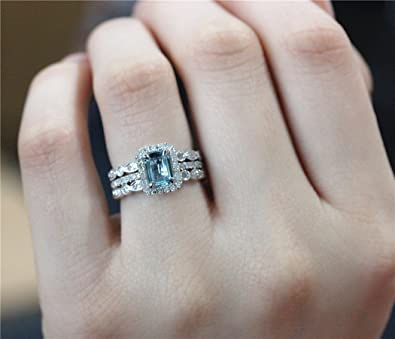 Voguegem Discount! 3pcs Engagement Ring Set in 14ct White Gold 5*7mm Cut Aquamarine Wedding Ring and Diamond Wedding Band