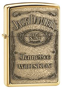 Zippo Jack Daniel's Label Brass Emblem Pocket Lighter
