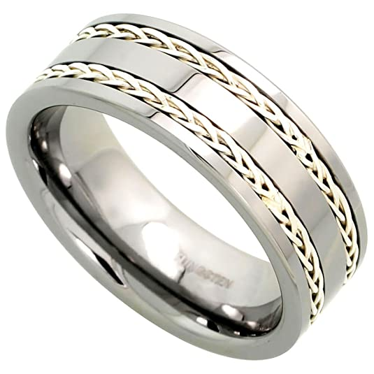 Revoni Tungsten Carbide 8 mm Flat Wedding Band Ring Double Sterling Silver Rope Inlay, sizes N to Z+2