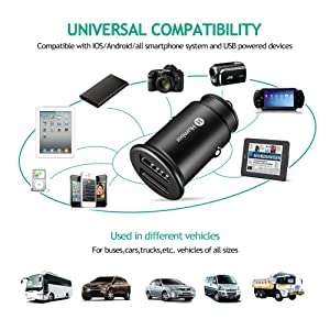 USB Car Charger,Humixx(Phantom series) Premium Alloy 4.8A/24W Fast Car Charger for iPhone 8,iPhone 8 Plus,iPhone X, iPad, S8, HTC and Other Apple&Android Device-Black (Color: Black)