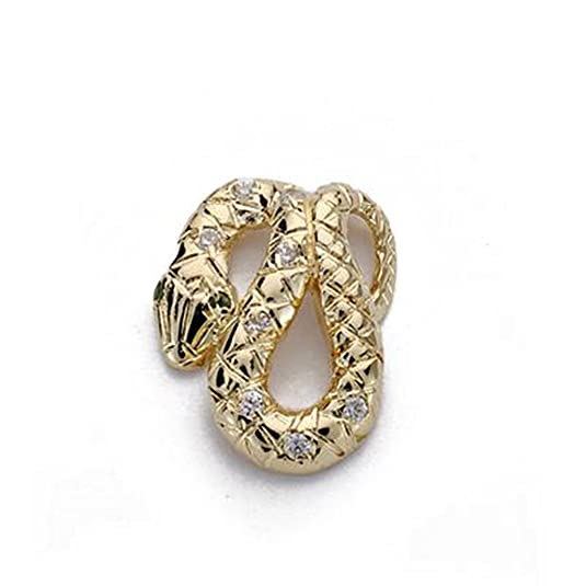 18k gold snake pendant zircons 15mm. [AA0006]
