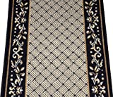 Black Scroll Border Washable Non-Skid Carpet Rug Runner - Purchase By the Linear Foot