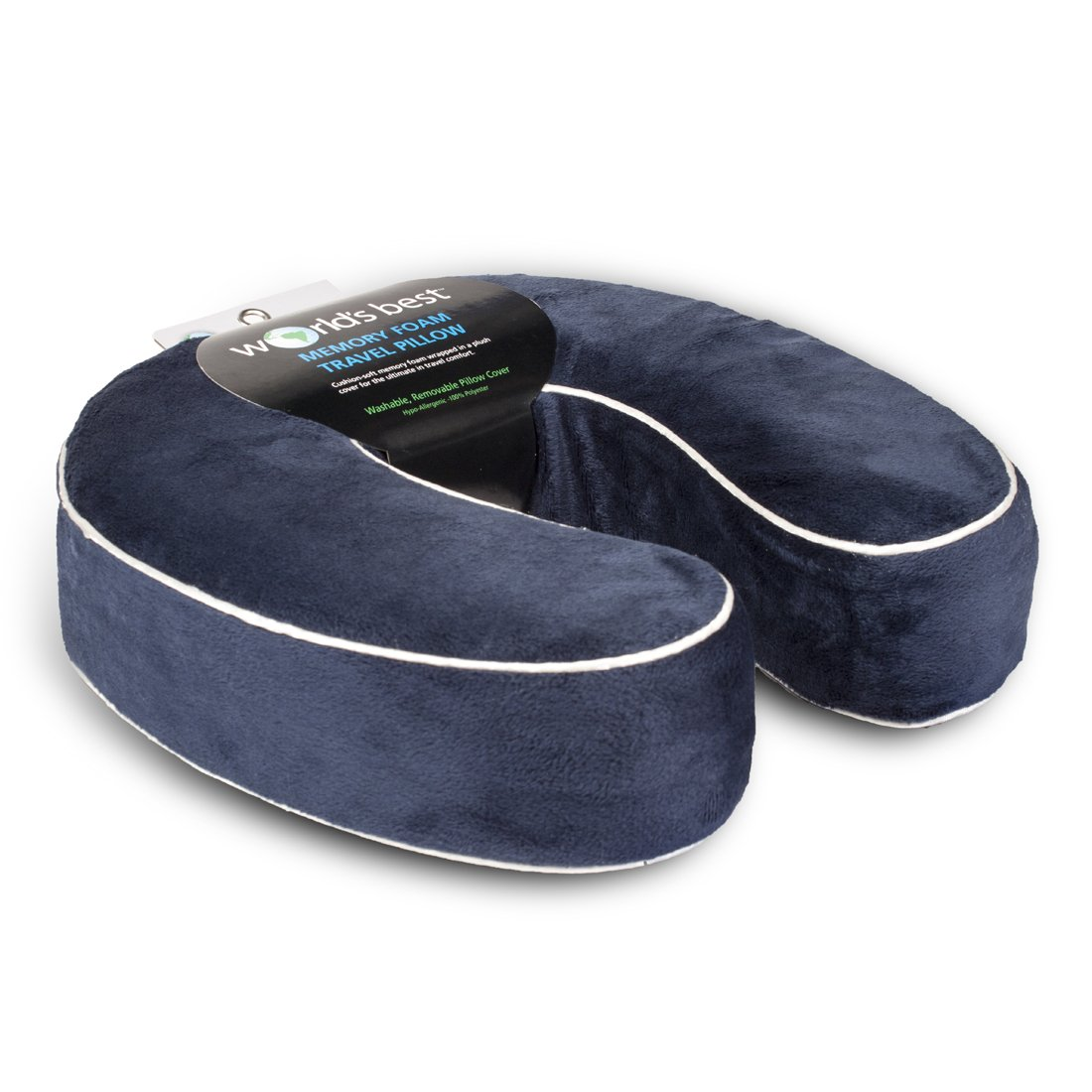 Worlds best cushion soft memory foam neck pillow navy for Best soft memory foam pillow