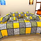 The Decor Hub 100% Cotton Checkered Diwan Set (Set Of 8 Pieces)- Yellow